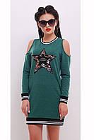 Платье-туника свободного фасона с открытыми плечами «Авенса»
