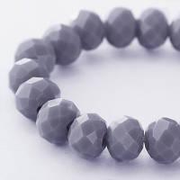 Бусины хрустальные (стекло) 6х4 мм, граненые, цвет серый