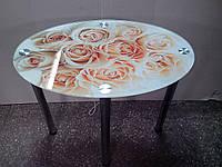 """Стол обеденный стеклянный овальный """"Estet""""  120х75"""
