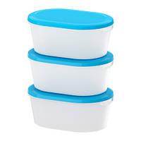 Набор контейнеров JÄMKA для пищевых продуктов, прозрачный белый, синяя крышка, в наборе 3 шт. (IKEA. Польша)