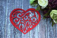 "Декоративное сердце из фетра ""Ажур"" 12 х 16 см красного цвета"