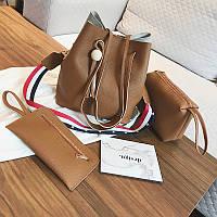 Женская сумка с кисточкой рыжая набор 3в1 экокожа опт, фото 1