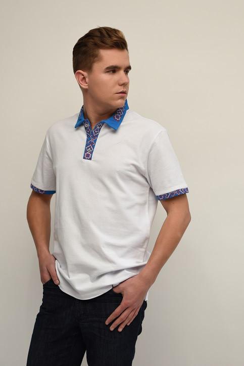 Стильная мужская футболка-поло с вышитым воротником