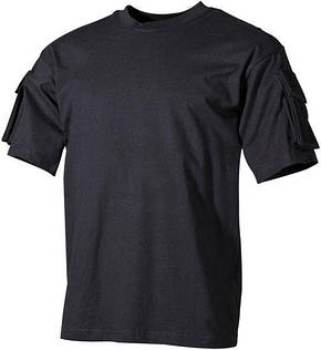 Тактическая футболка спецназа США, чёрная, с карманами на рукавах, х/б MFH 00121A, фото 2