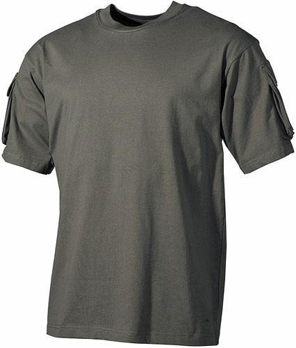Тактическая футболка (XXL) спецназа США, тёмно-зелёная, с карманами на рукавах, х/б MFH 00121B