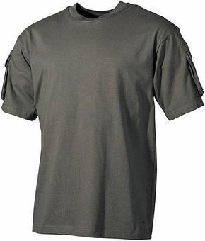 Тактическая футболка (XXL) спецназа США, тёмно-зелёная, с карманами на рукавах, х/б MFH 00121B, фото 2