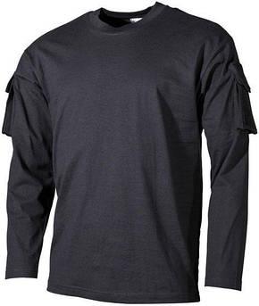 Тактическая футболка (XXXL) спецназа США с длинным рукавом, чёрная, с карманами на рукавах, х/б MFH 00123A, фото 2
