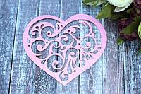 """Декоративное сердце из фетра """"Ажур"""", 10 шт/уп,  12 х 16 см нежно-розового цвета оптом, фото 1"""