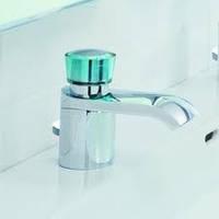 Смеситель для умывальника с донным клапаном Kludi Joop! 55023H705 хром/хрусталь зеленый