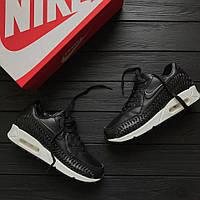 Кроссовки Nike Air Max 90 leather Black/white  . Живое фото. Топ качество (аир макс, эир макс)
