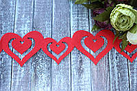 "Гирлянда из фетра ""Сердца"" 95 см красного цвета, фото 1"