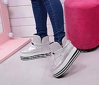 Осенние ботинки сникерсы толстая подошва. Серебряные, фото 1