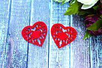 Декоративное сердце из фетра 10 шт/уп.,  5 х 5 см красного цвета оптом, фото 1