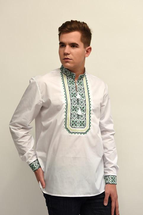 Хлопковая мужская сорочка с вышитым орнаментом