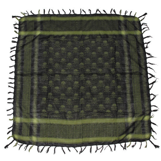 Куфия (арафатка) с черепами зелёно-чёрная MFH 16513B