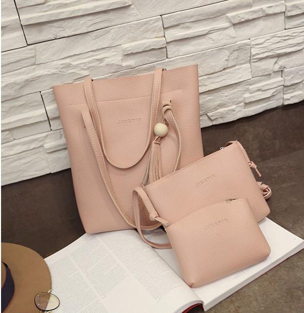 be11caa99164 Женская сумка в наборе 3в1 + мини сумочка и клатч розовый купить по ...