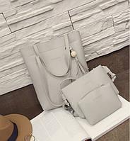 Женская сумка в наборе 3в1 + мини сумочка и клатч серый опт, фото 1