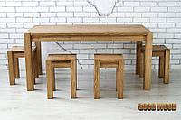 Стол деревянный обеденный W-1, ясень или дуб, (Ш1400* В760 * Г900)