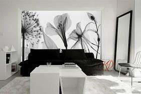 """3D фотообои """"Цветы в серых тонах"""""""