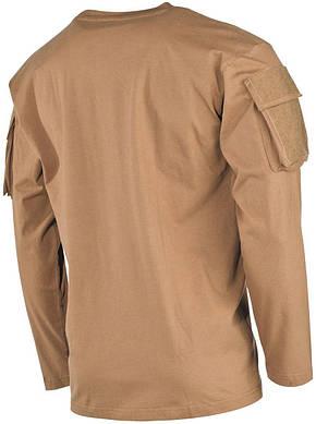 Тактическая футболка (XXXL) спецназа США с длинным рукавом, койот, с карманами на рукавах, х/б MFH 00123R, фото 2