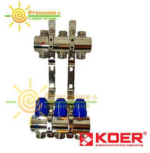 Коллектор отопления без расходомеров KOER на 3 контура