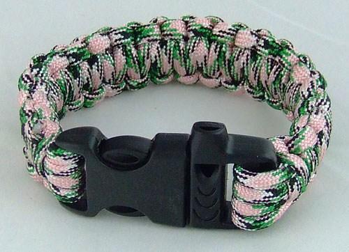 Браслет выживания 19см со свистком зелёно-розовый