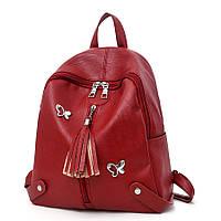 Рюкзак женский городской для девочек, девушек с бабочками (красный)