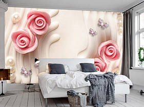 "3D фотообои ""Розовые розочки с жемчугом"""