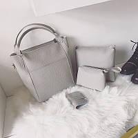 Женская сумка набор 4в1 + мини сумочка и косметичка серый опт, фото 1