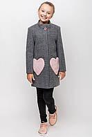"""Демисезонное кашемировое пальто для девочки """"Сердечки"""""""
