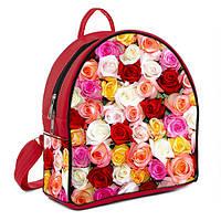 Красный рюкзак в принт розы