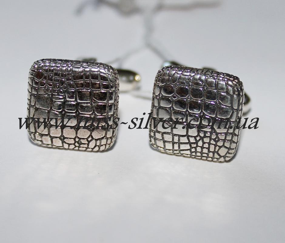 Запонки из серебра с чернением Aligator