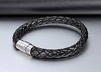 Кожаный мужской плетеный браслет с магнитным замком, фото 1