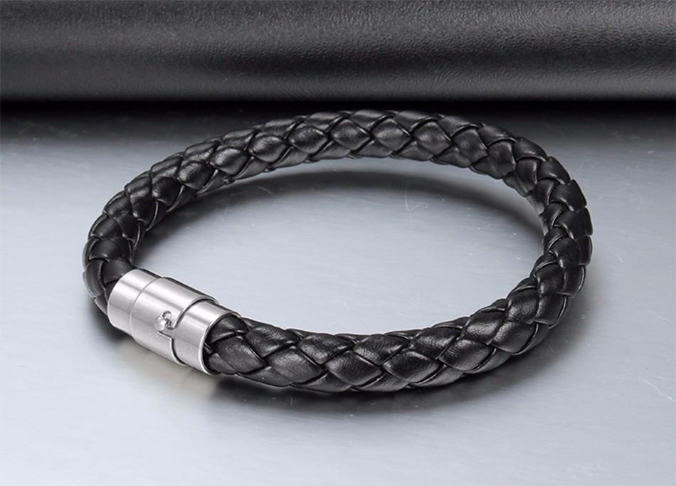 Кожаный мужской плетеный браслет с магнитным замком
