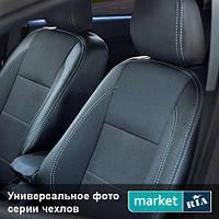 Чехлы для Geely MK, Черный + Графит цвет, Экокожа + Автоткань