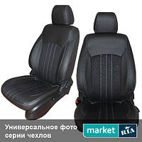 Чехлы для Chevrolet Aveo, Темно-коричневый + Черный цвет, Экокожа + Нубук