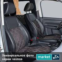 Чехлы для Chevrolet Aveo, Черный + Темно-коричневый цвет, Экокожа + Нубук