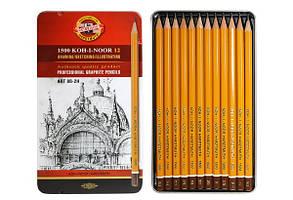 Набір олівців чорнографітних KOH-I-NOOR 1500 Art 8B-2H 12 шт, у мет. пеналі