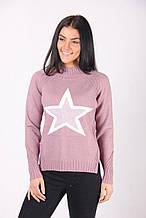 Теплая розовая кофта со звездой