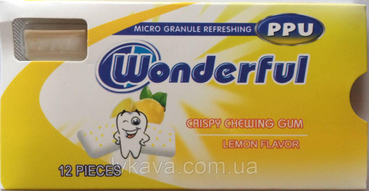 Жевательная резинка  Wonderful PPU лимон, 12 гр
