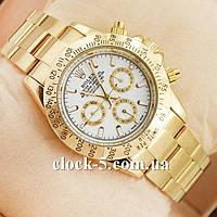 Часы копия Rolex Cosmograph механика золотистые