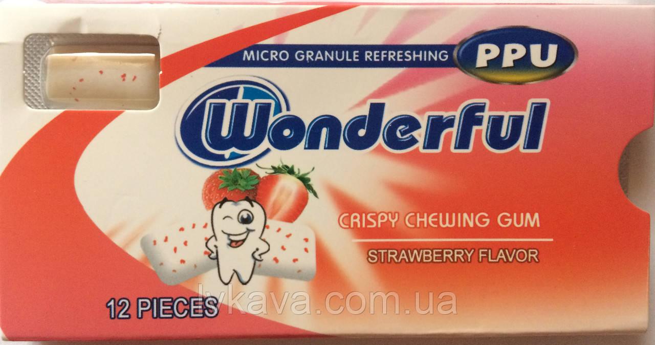 Жевательная резинка  Wonderful PPU клубника, 12 гр
