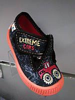 Детские модные тапочки-мокасины Extreme Cars на липучке 22-27
