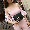 Женский клатч сумка на цепочке в стиле гермес Черный, фото 2