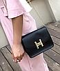 Женский клатч сумка на цепочке в стиле гермес Черный, фото 3