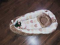 Кокон-гнездышко с разными сердечками + ортопедическая подушка для новорожденных