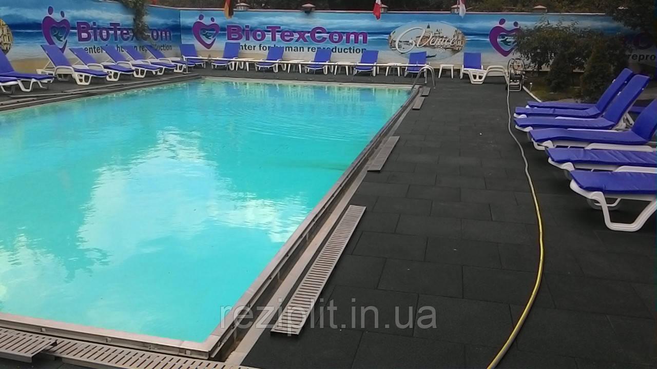 Резиновое противоскользящее покрытие. Резиновая плитка вокруг бассейнов.