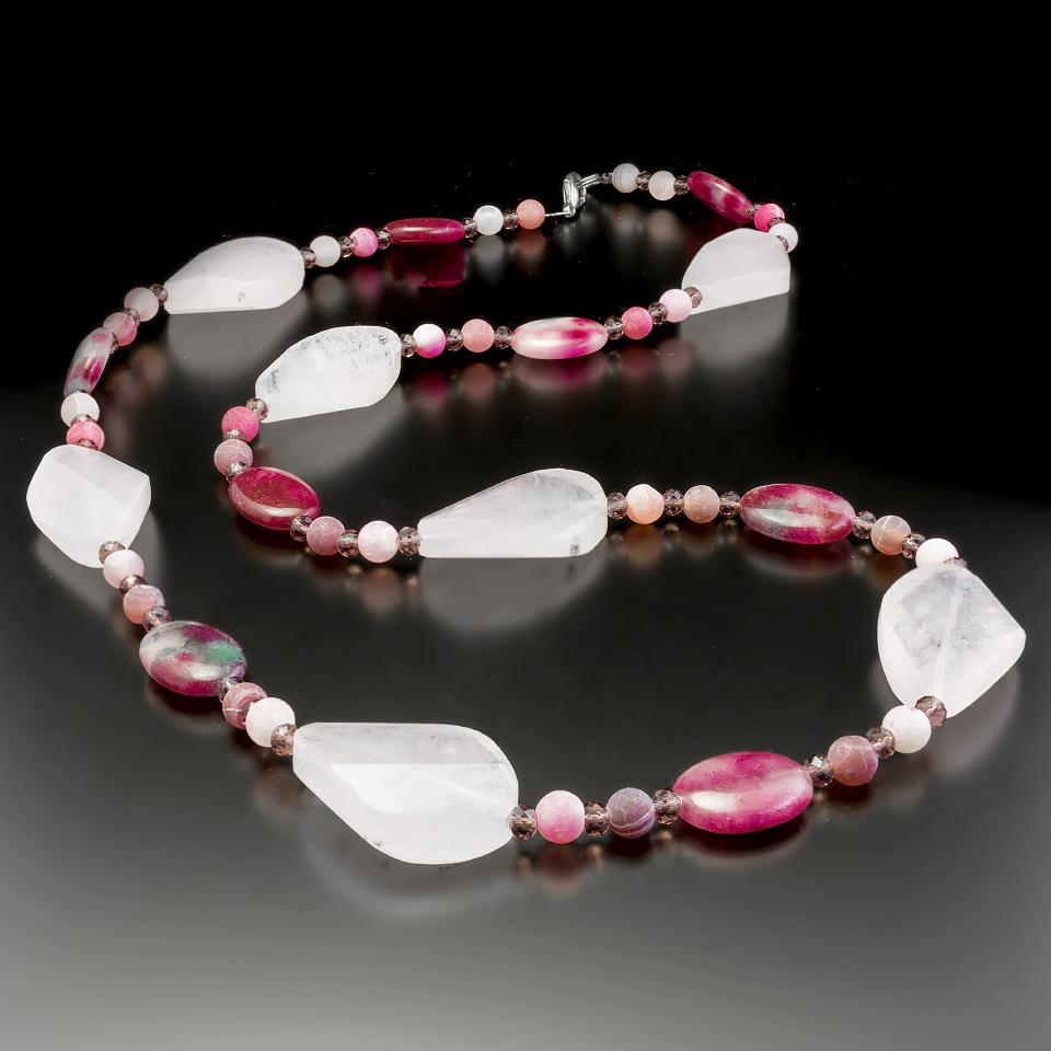 Розовый  и малиновый кварц, бусы, 065ОР