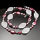 Рожевий і малиновий кварц, намисто, 065ОР, фото 2