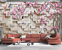 """3D фотообои """"Цветущее дерево на фоне кирпичной стены"""""""
